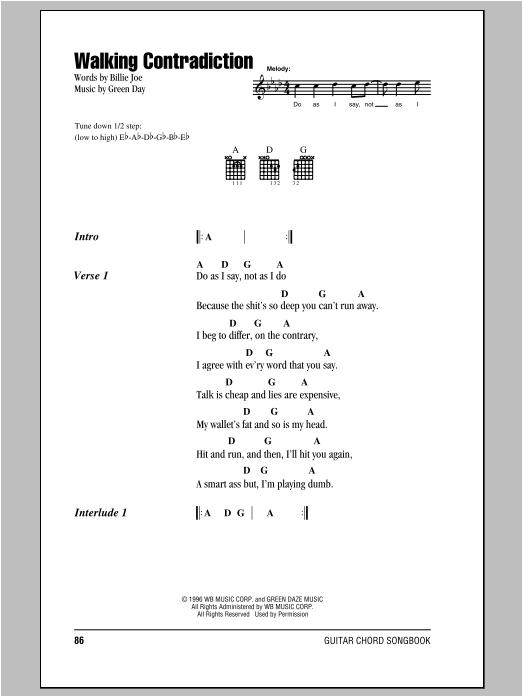 Walking Contradiction sheet music