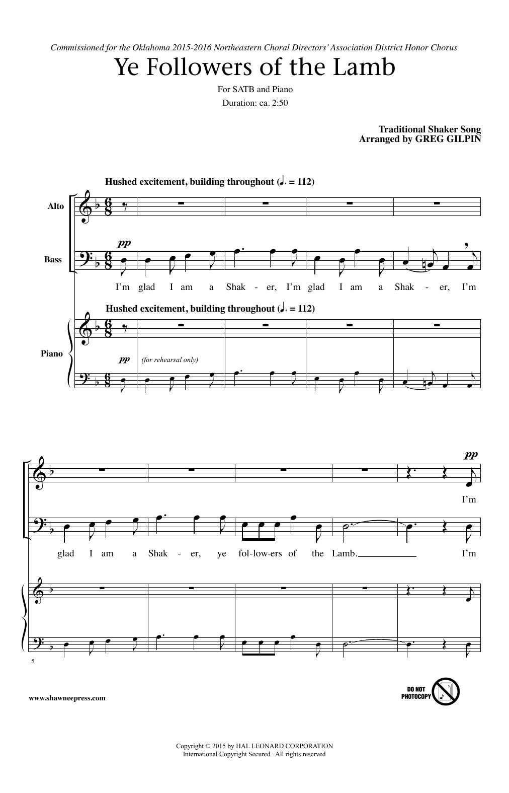 Ye Followers Of The Lamb sheet music