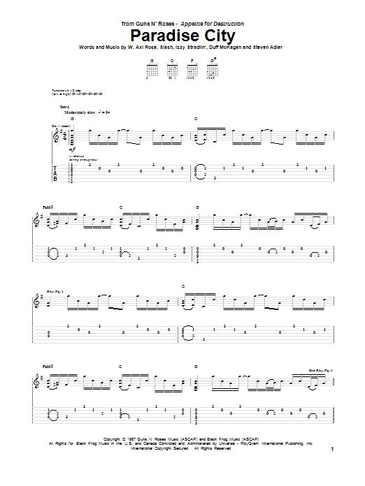 Paradise City sheet music