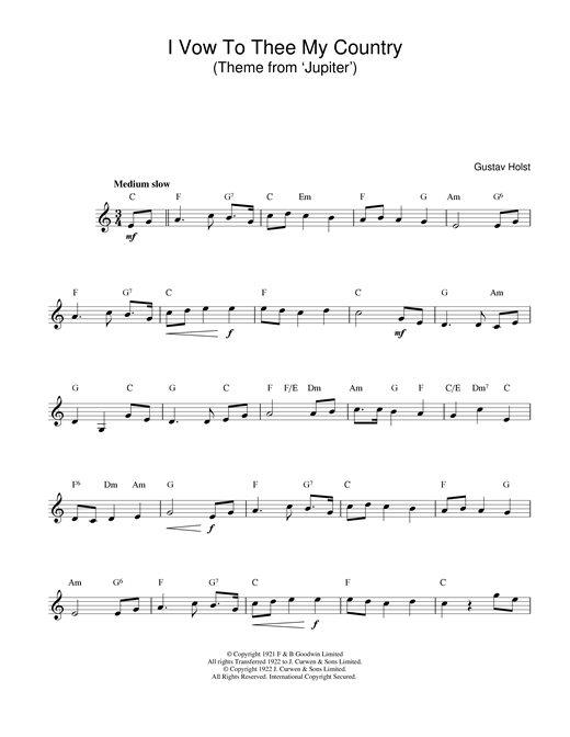 I Vow To Thee My Country sheet music