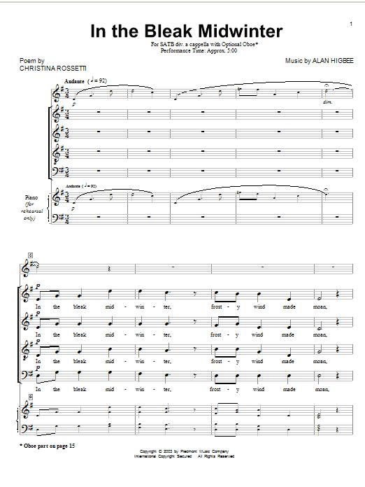 In The Bleak Midwinter (arr. Alan Higbee) sheet music