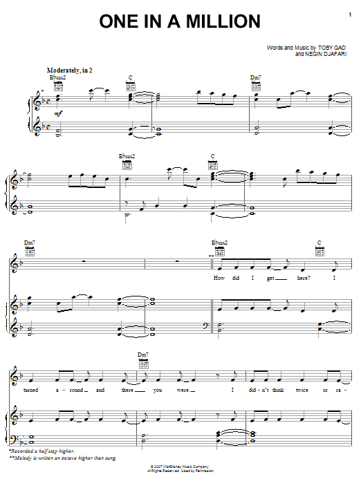 One In A Million sheet music