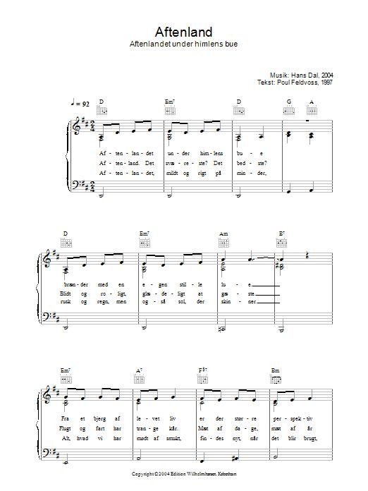 Aftenland - Aftenlandet Under Himlens Bue sheet music