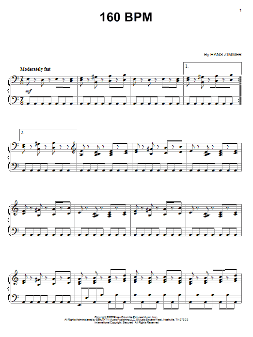 160 BPM sheet music