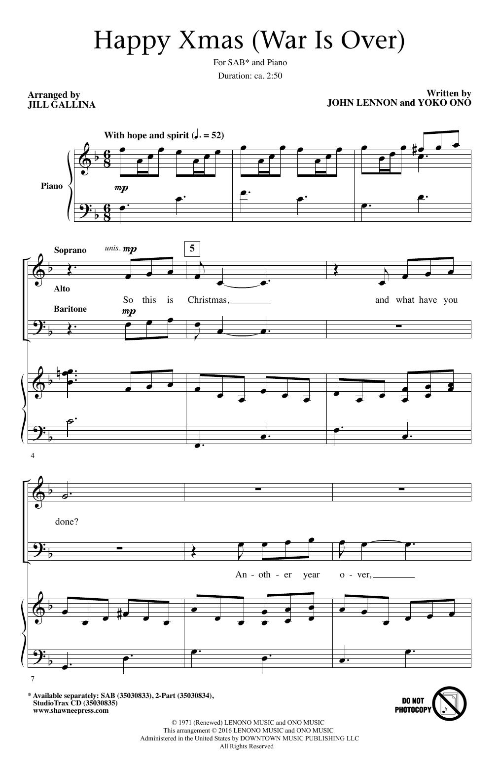 John Lennon Happy Xmas War Is Over Arr Jill Gallina Sheet Music Download Pdf Score 195638