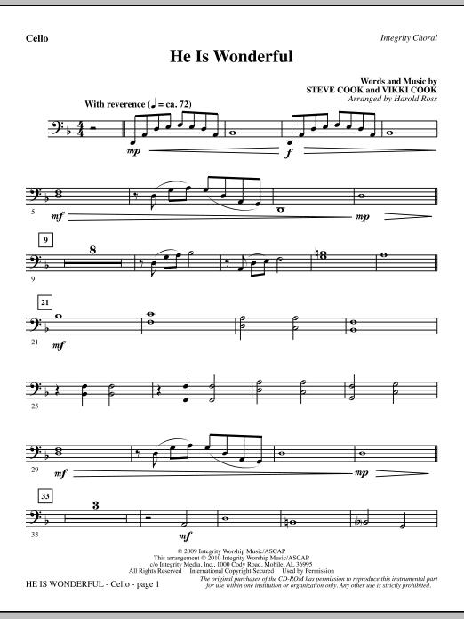 He Is Wonderful - Cello sheet music