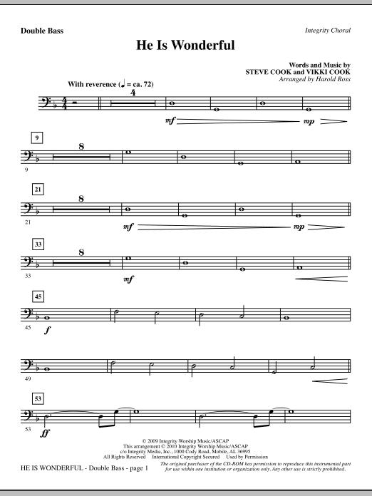 He Is Wonderful - Double Bass sheet music