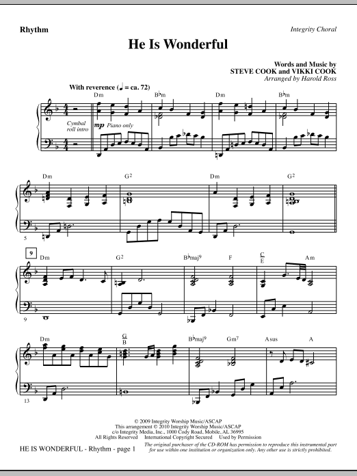 He Is Wonderful - Rhythm sheet music