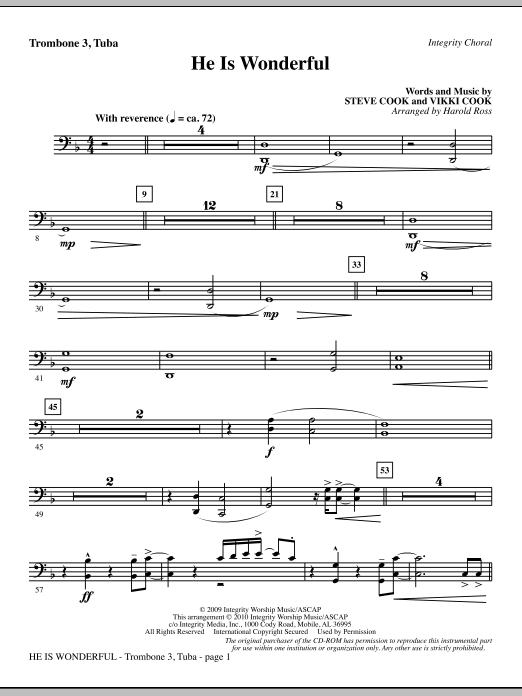 He Is Wonderful - Trombone 3/Tuba sheet music