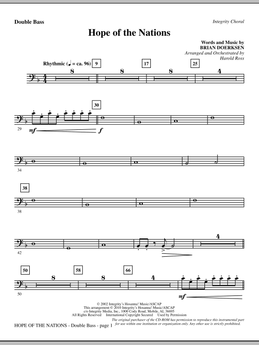 Hope Of The Nations - Double Bass sheet music
