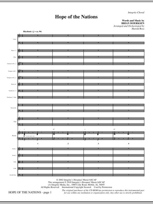 Hope Of The Nations - Full Score sheet music