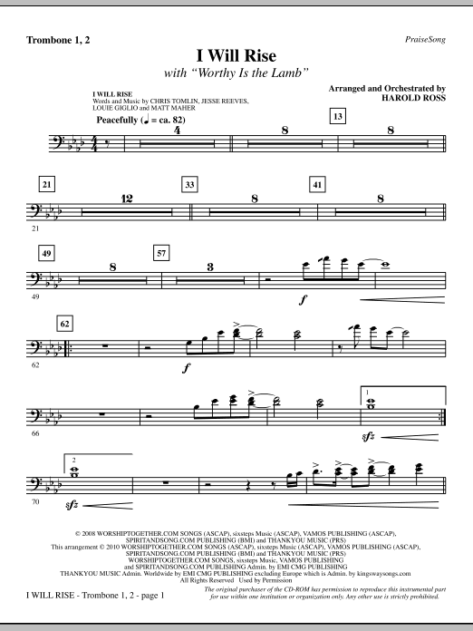 I Will Rise (with Worthy Is The Lamb) - Trombone 1 & 2 sheet music