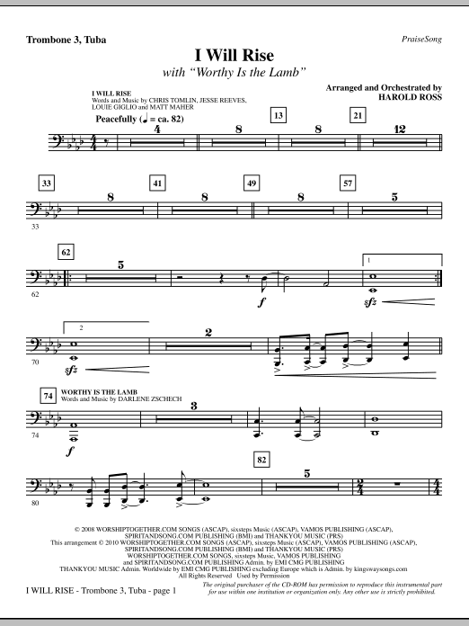 I Will Rise (with Worthy Is The Lamb) - Trombone 3/Tuba sheet music