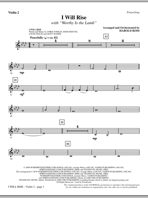 I Will Rise (with Worthy Is The Lamb) - Violin 2 sheet music