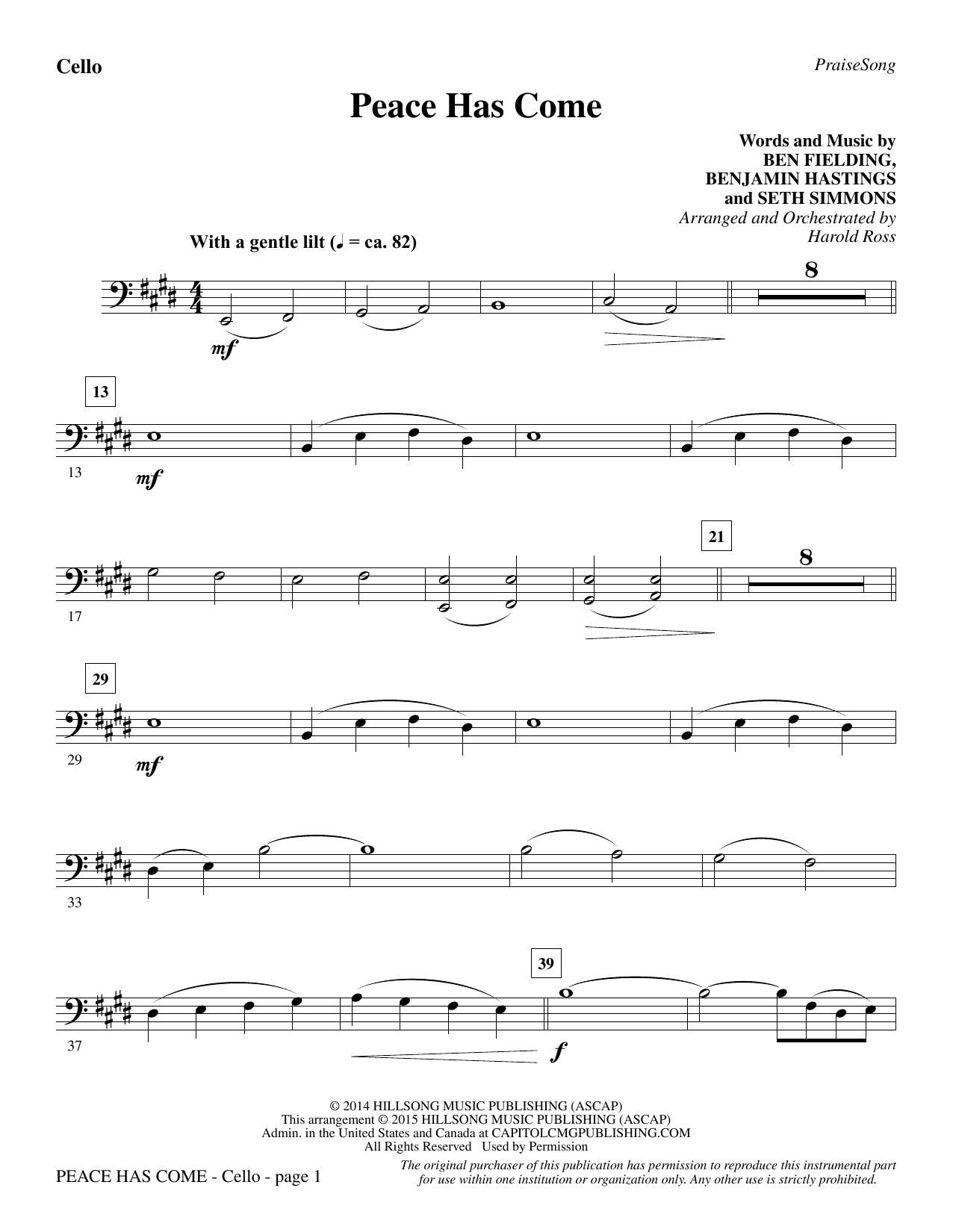 Peace Has Come - Cello sheet music