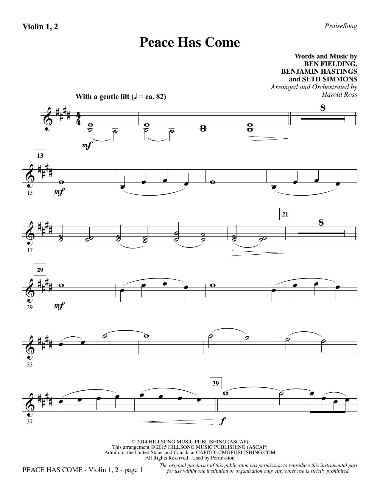 Peace Has Come - Violin 1, 2 sheet music