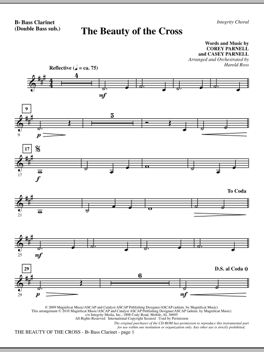 The Beauty Of The Cross - Bass Clarinet (sub. dbl bass) sheet music