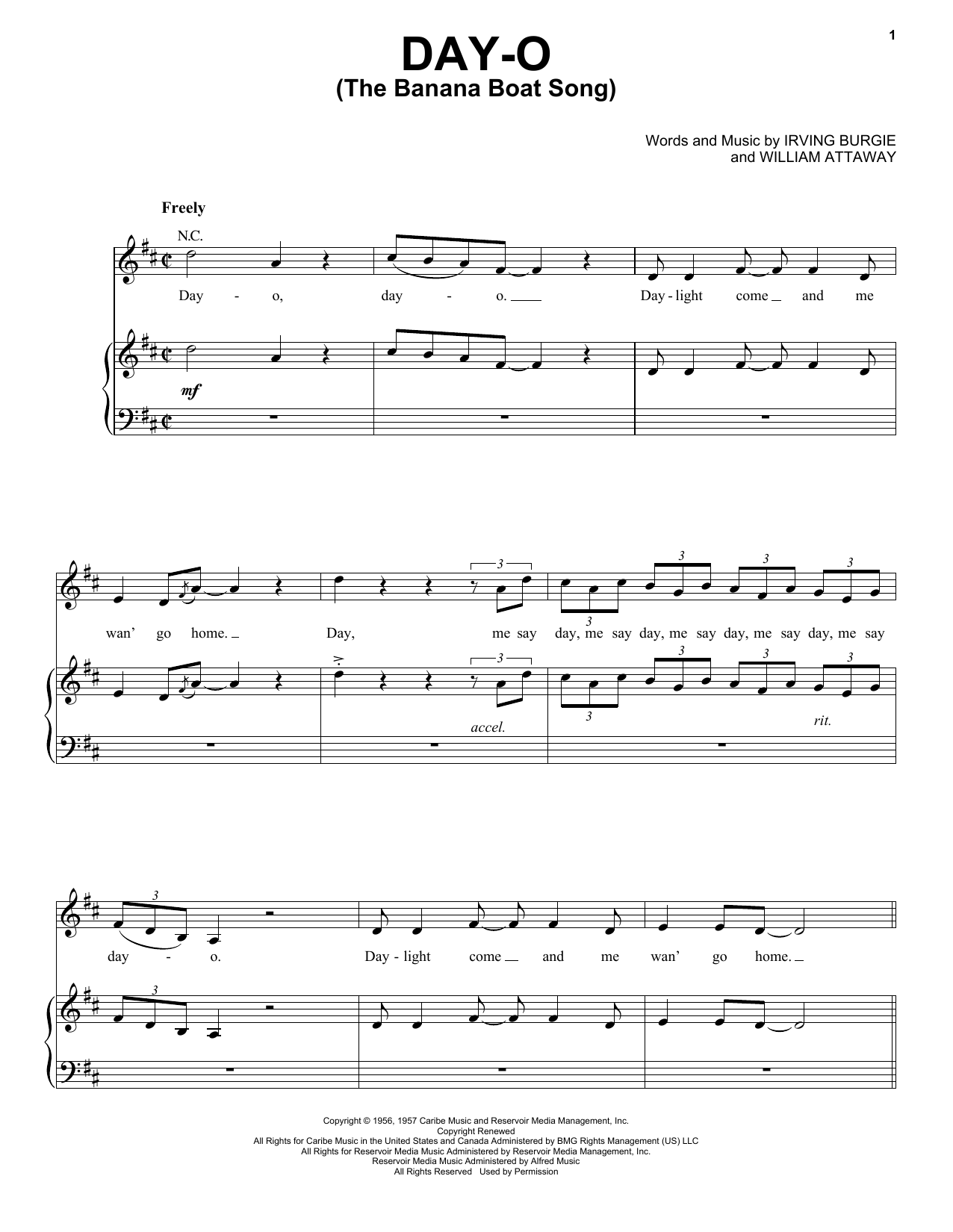 Day-O (The Banana Boat Song) sheet music