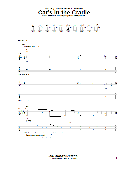 Cat's In The Cradle sheet music