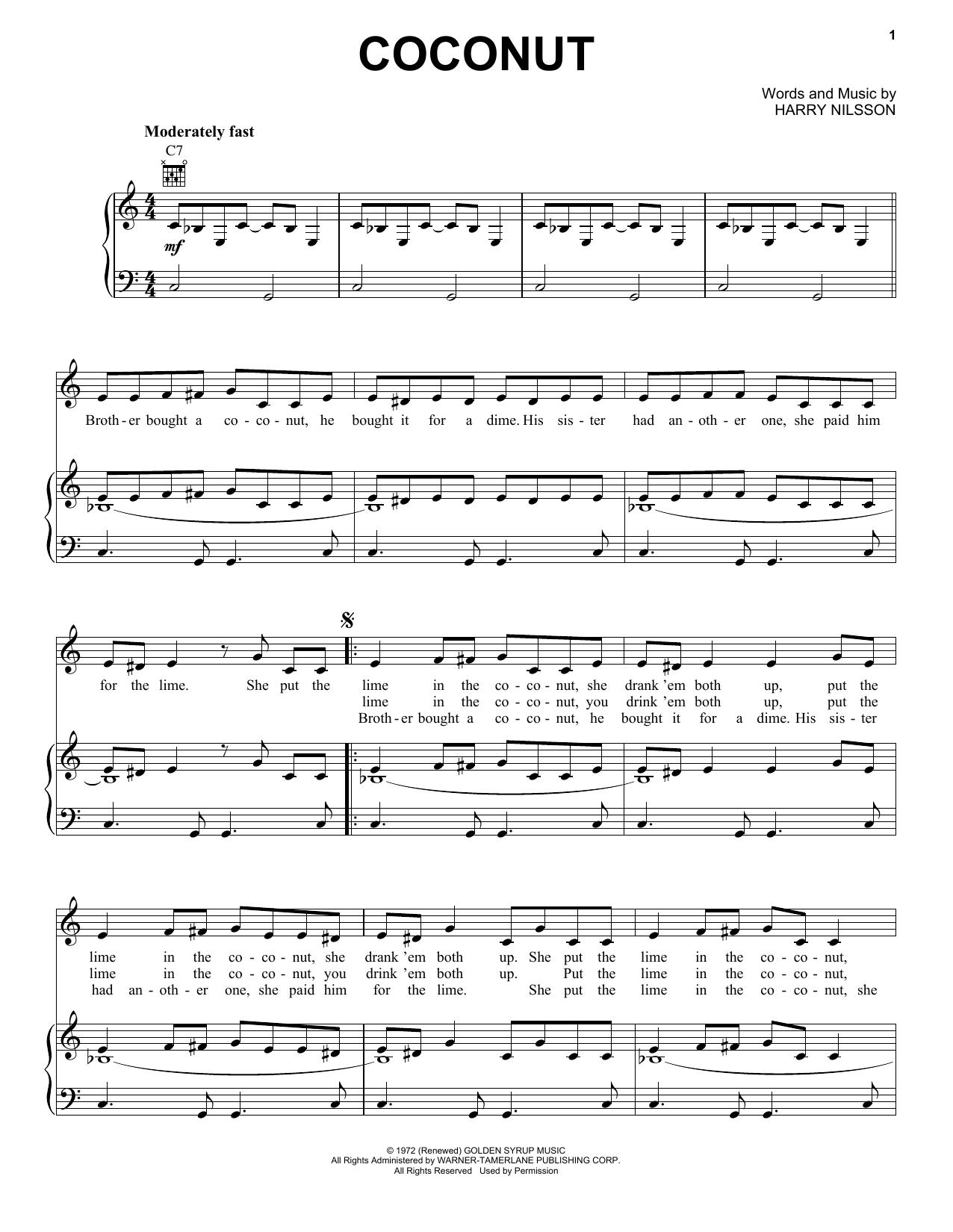 Coconut sheet music