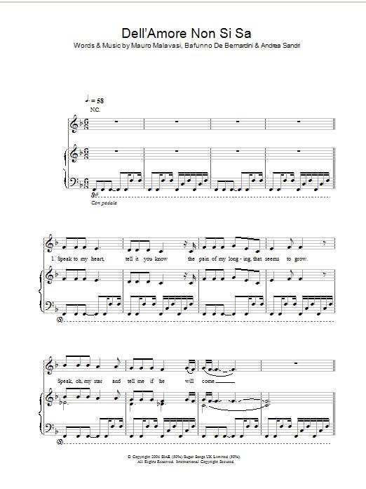 Dell'Amore Non Si Sa sheet music