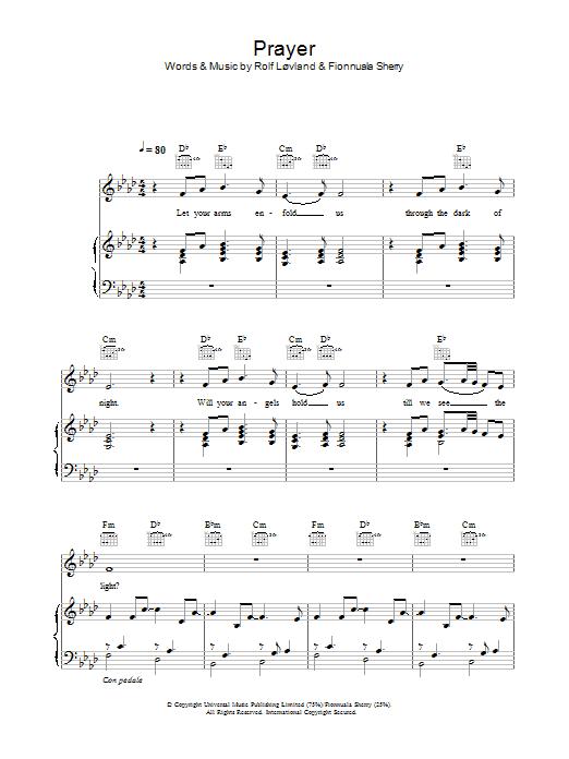 Prayer sheet music