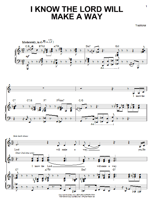 I Know The Lord Will Make A Way sheet music