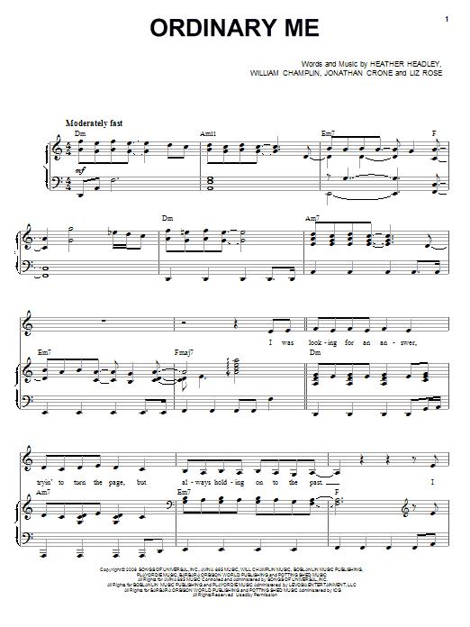 Ordinary Me sheet music