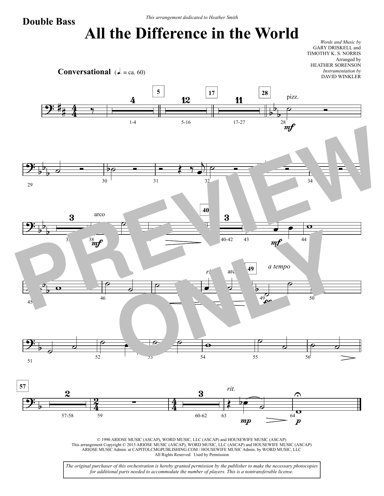 All the Difference in the World - Double Bass sheet music