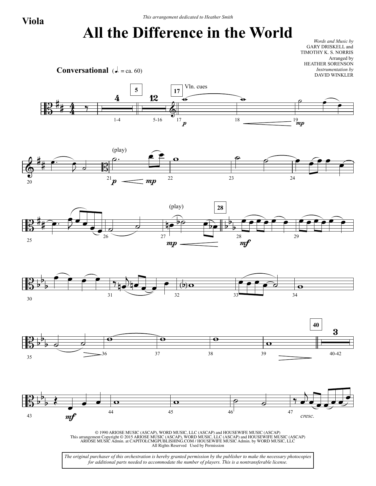 All the Difference in the World - Viola sheet music