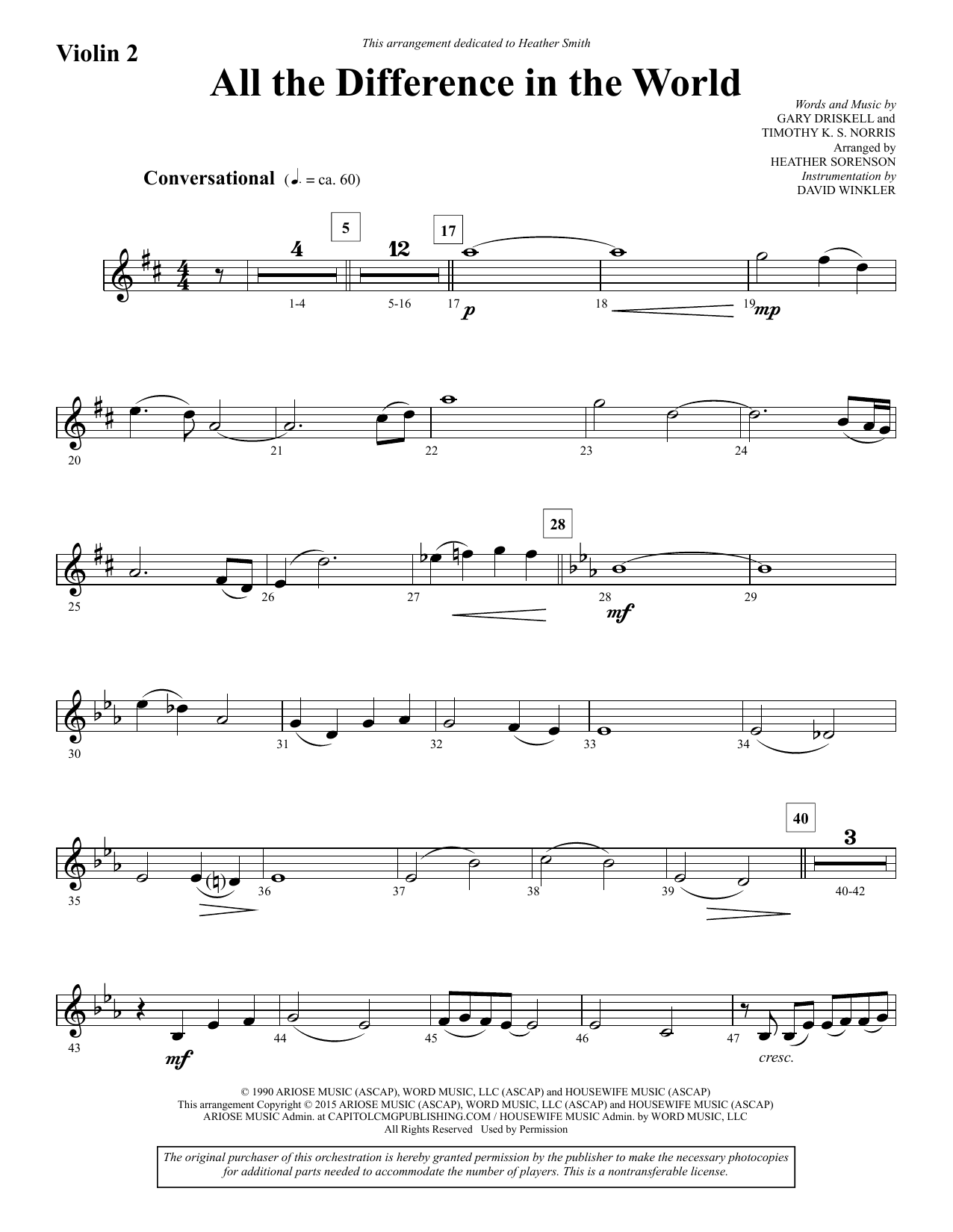 All the Difference in the World - Violin 2 sheet music