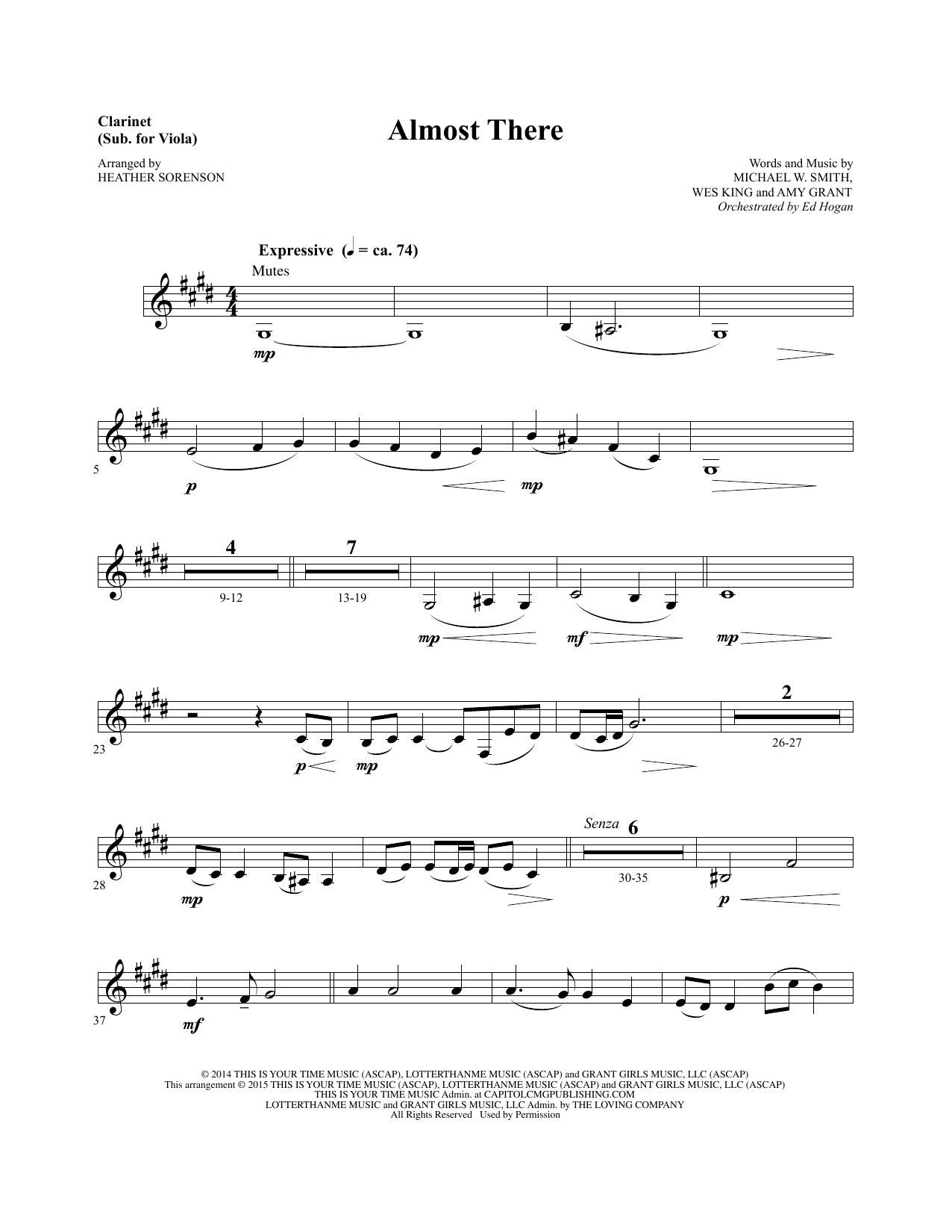 Almost There - Clarinet (sub Viola) sheet music