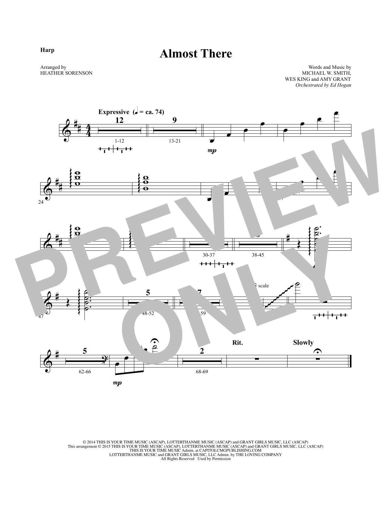 Almost There - Harp sheet music
