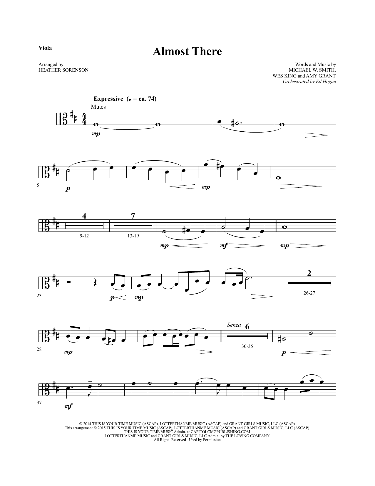 Almost There - Viola sheet music