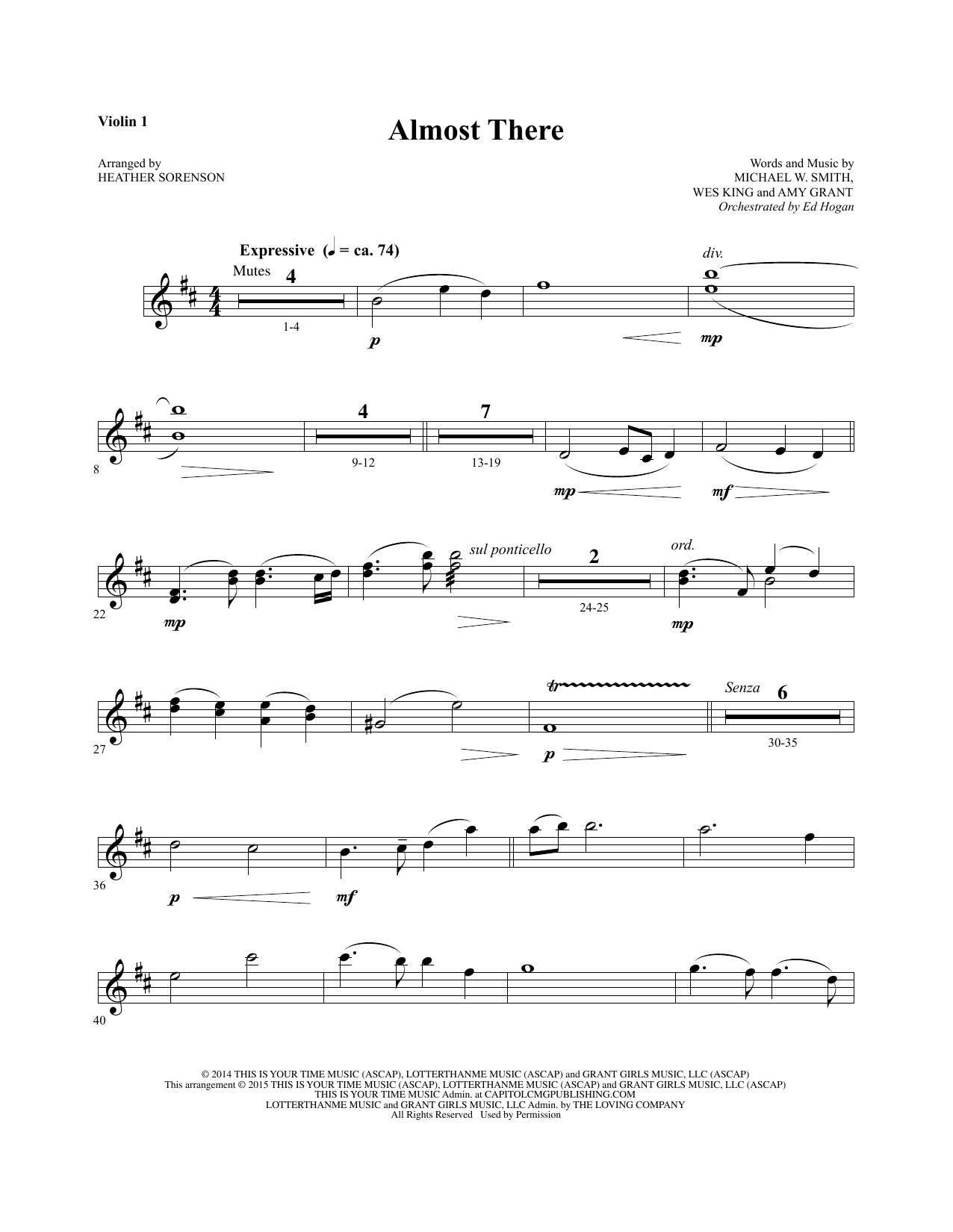 Almost There - Violin 1 sheet music