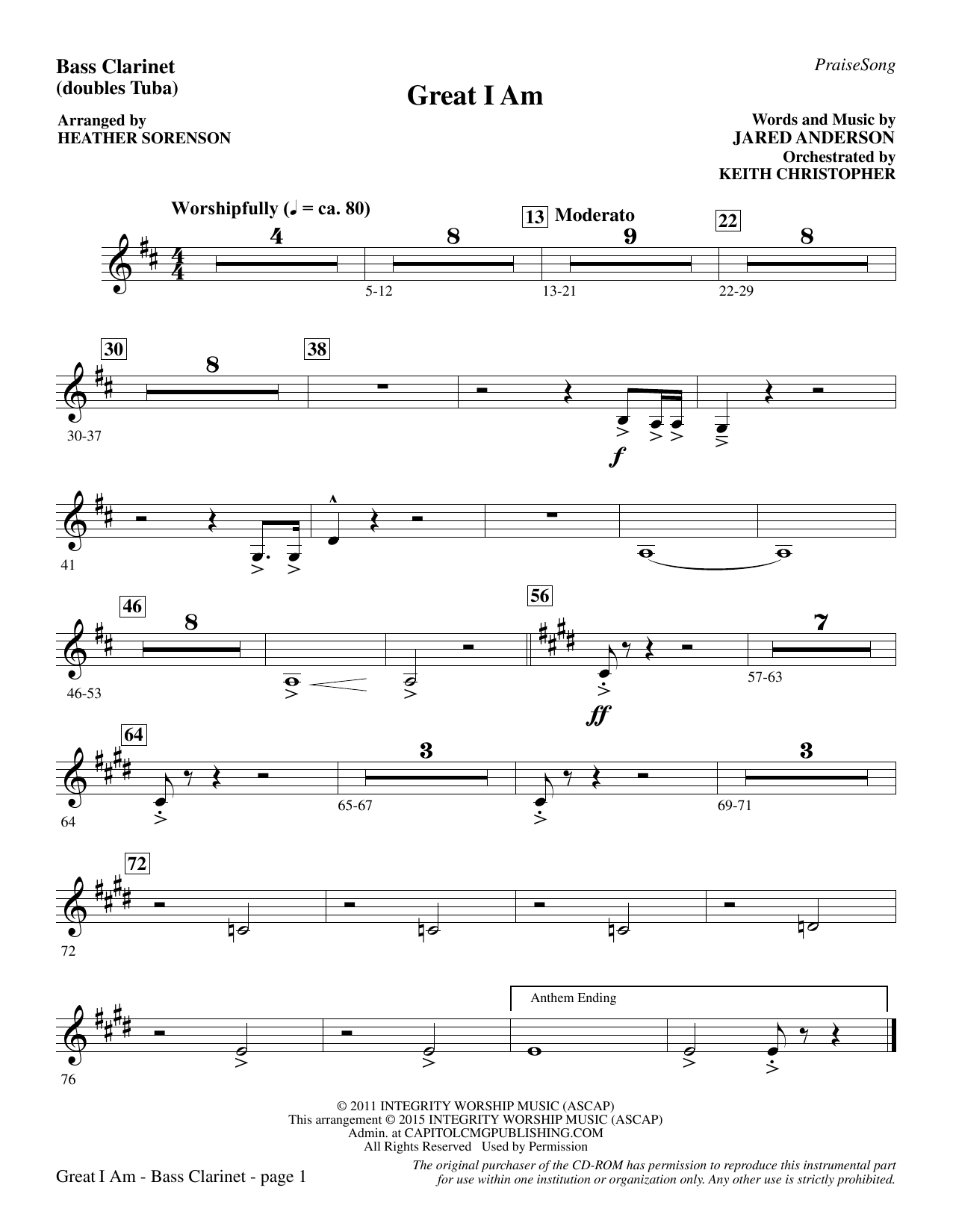Great I Am - Bass Clarinet (sub. Tuba) sheet music