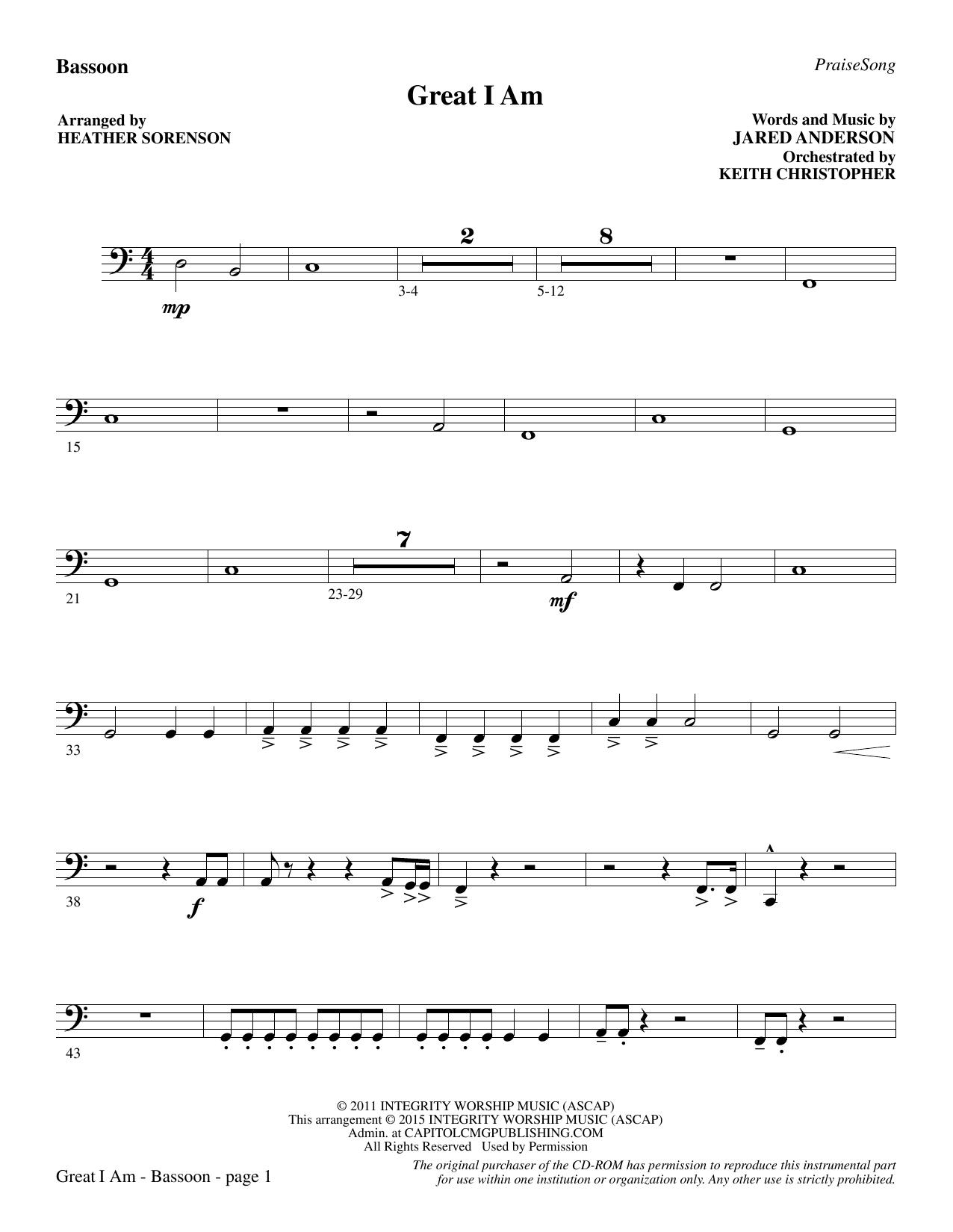 Great I Am - Bassoon sheet music