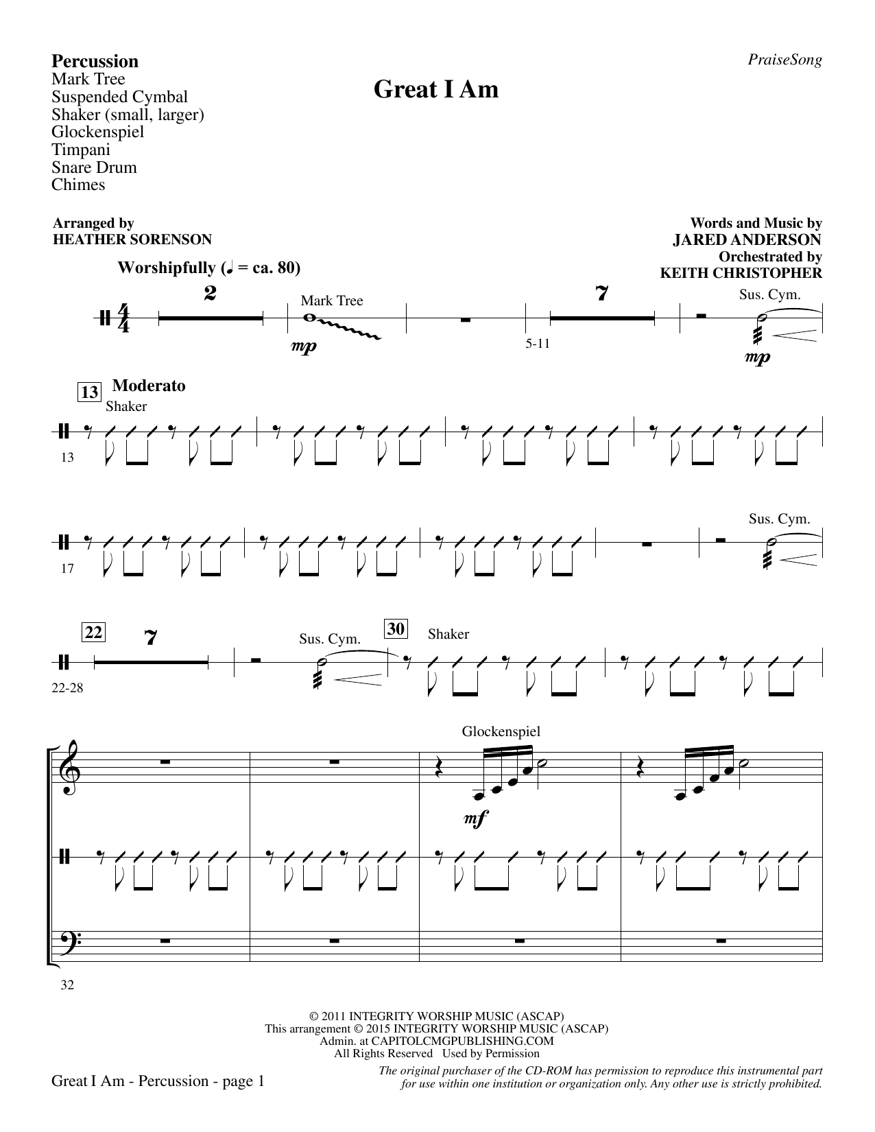 Great I Am - Percussion sheet music