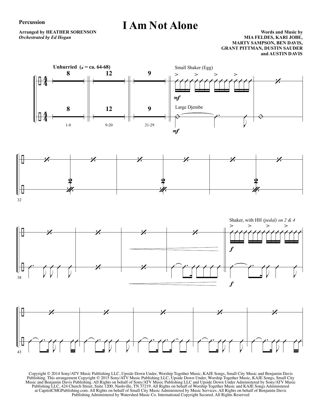 I Am Not Alone - Percussion sheet music