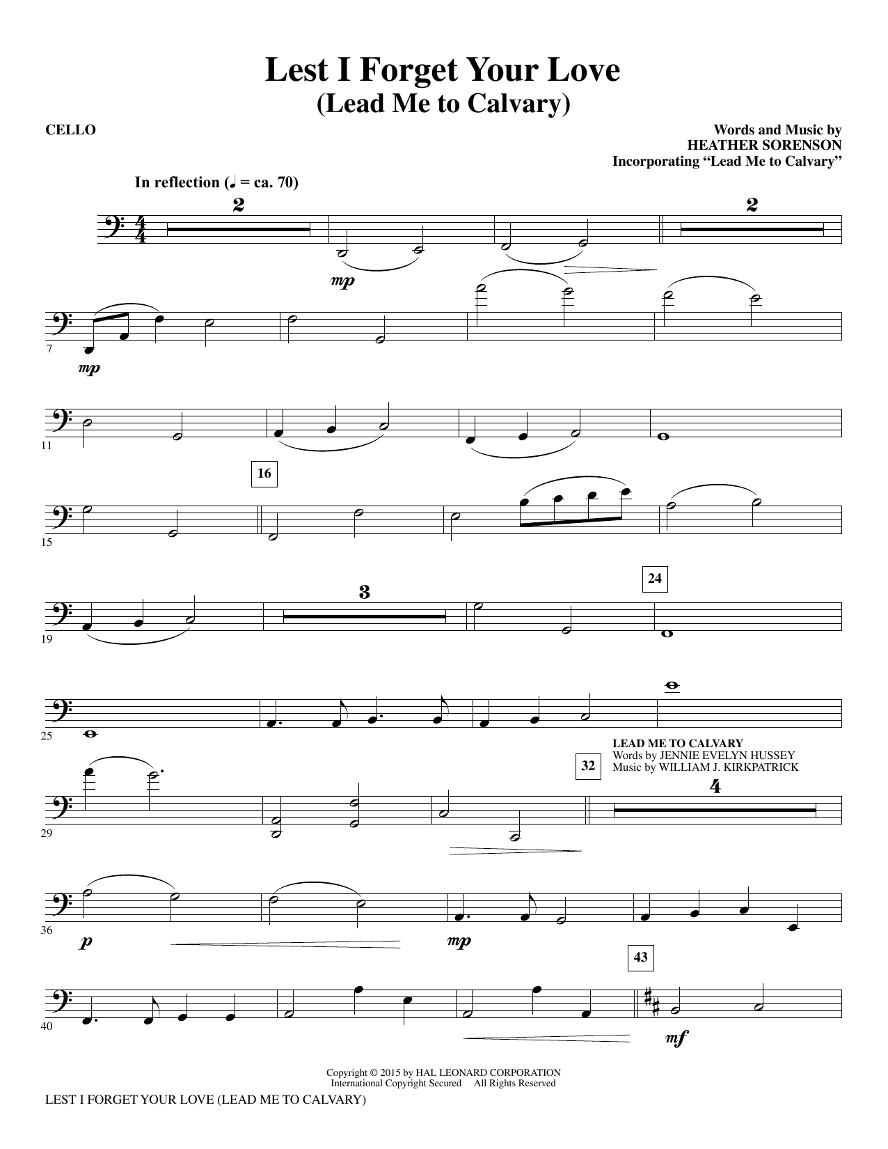 Lest I Forget Your Love - Cello sheet music