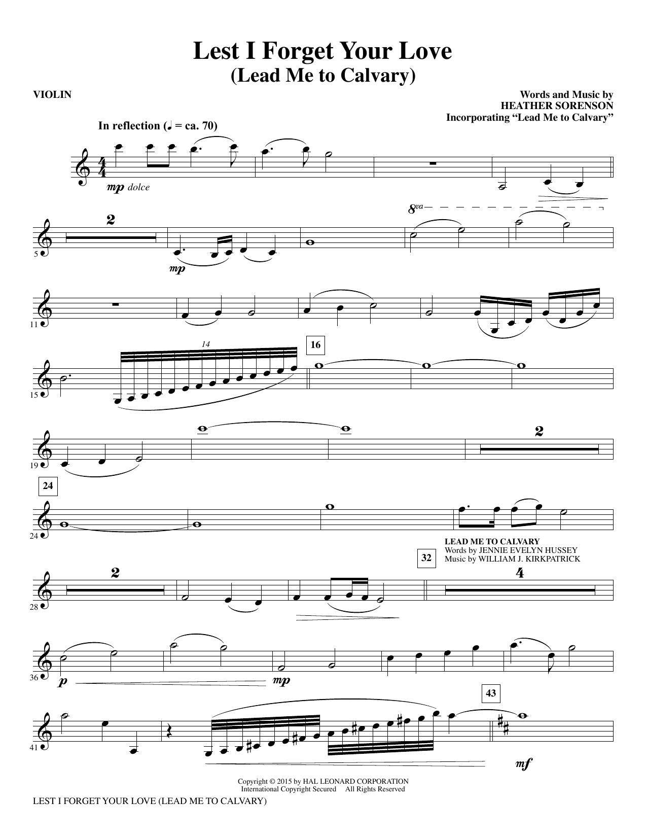 Lest I Forget Your Love - Violin sheet music