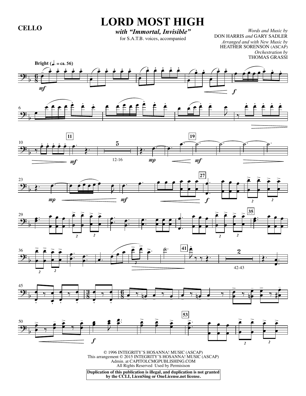 Lord Most High - Cello sheet music