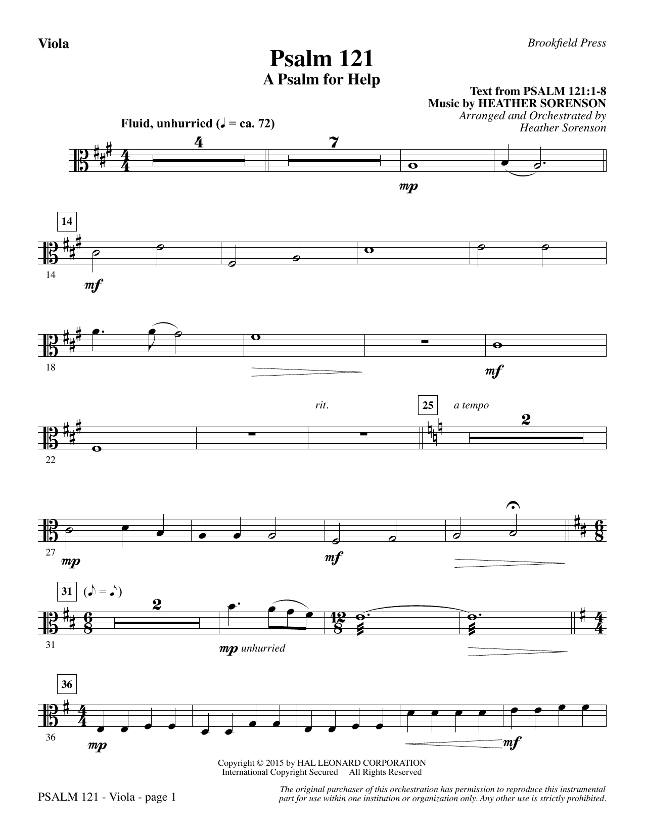 Psalm 121 (A Psalm For Help) - Viola sheet music