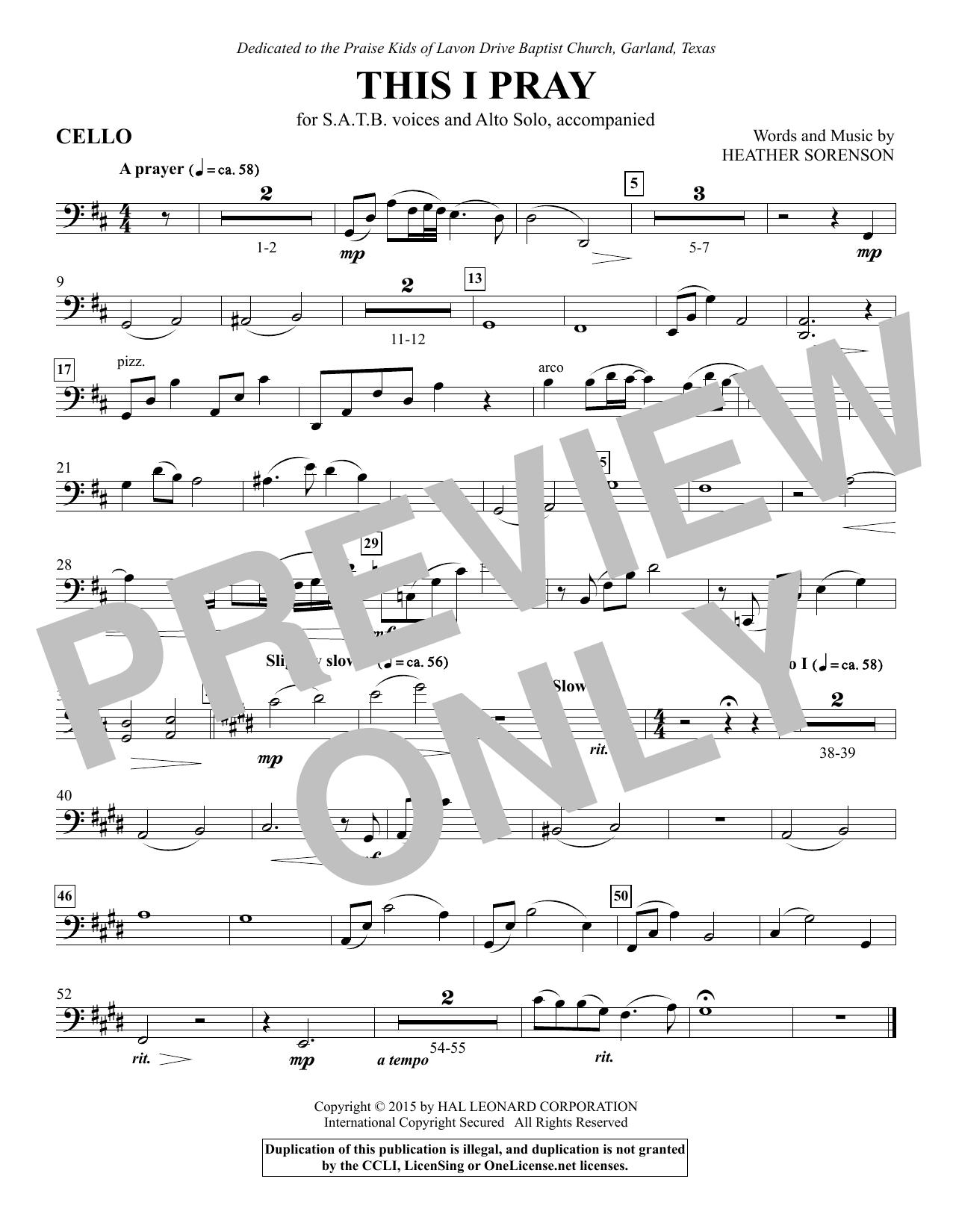 This I Pray - Cello sheet music