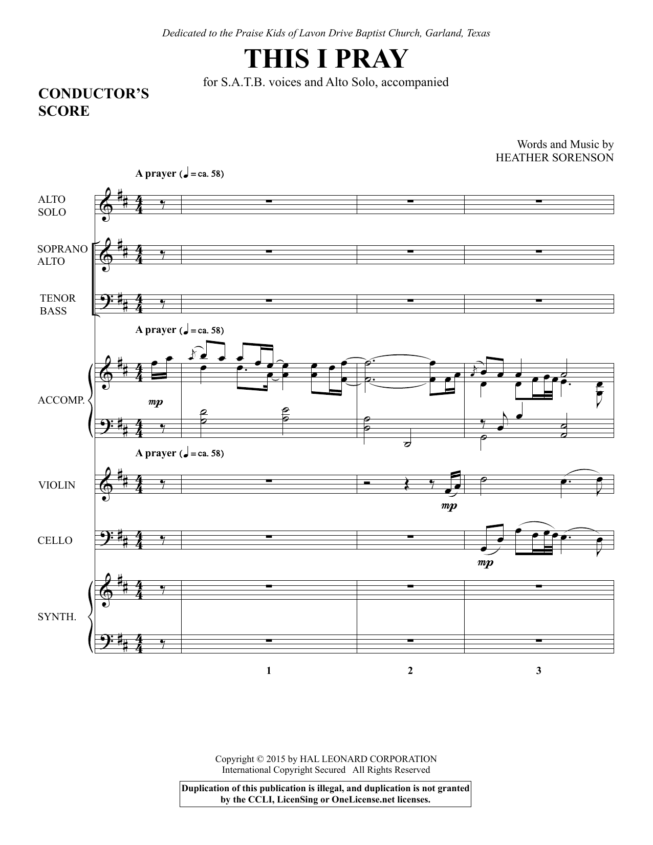 This I Pray - Full Score sheet music