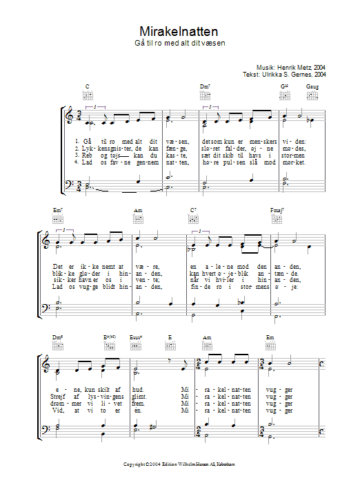 Mirakelnatten sheet music