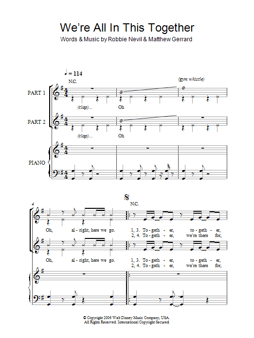 We're All In This Together (arr. Rick Hein) sheet music