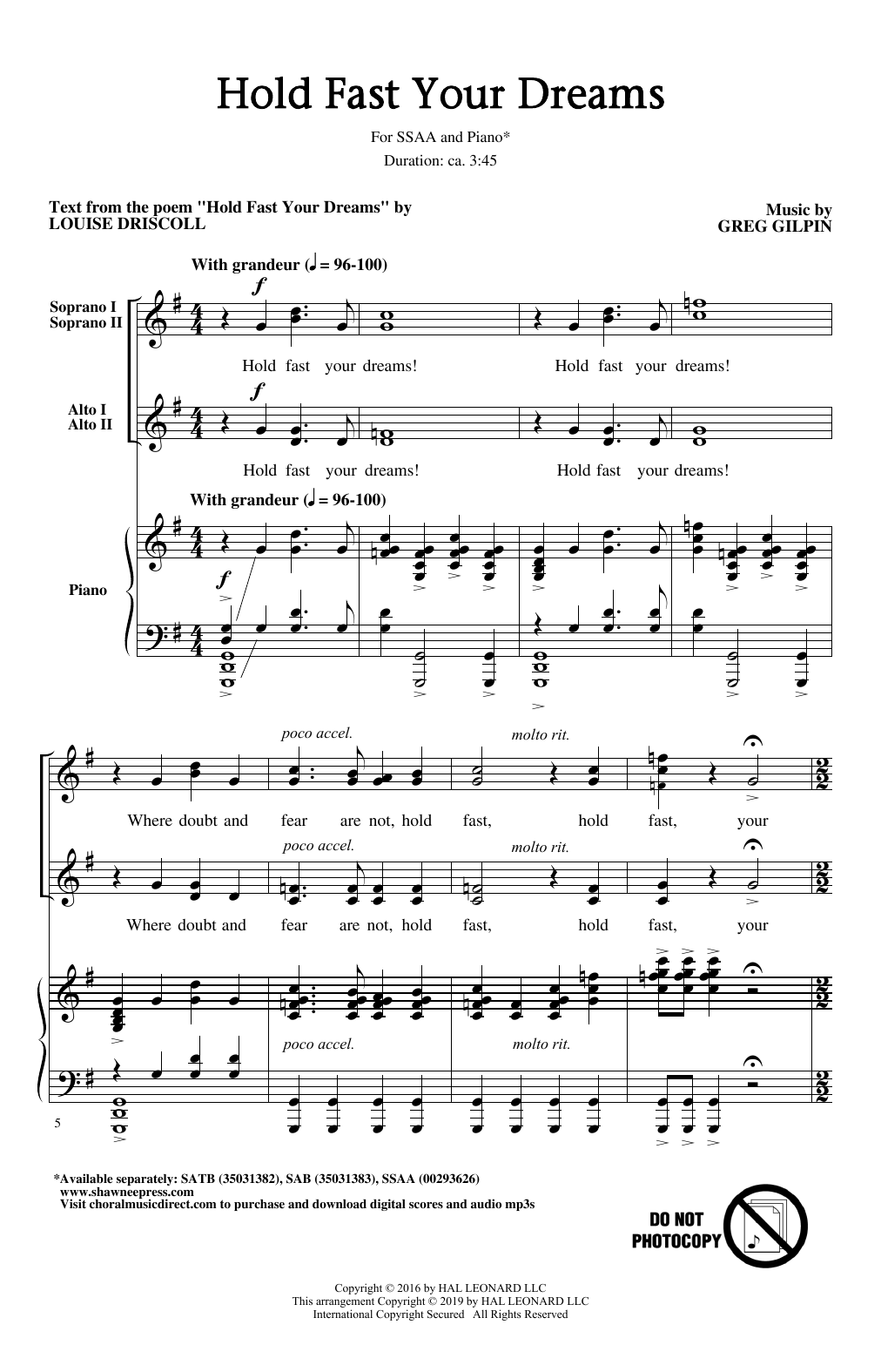 Hold Fast Your Dreams! sheet music
