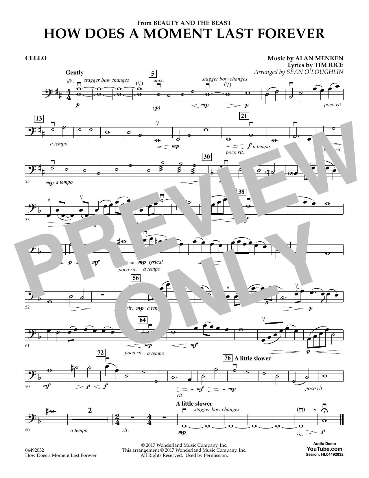 Sean O Loughlin How Does A Moment Last Forever From Beauty And The Beast Cello Sheet Music Download Pdf Score 371156