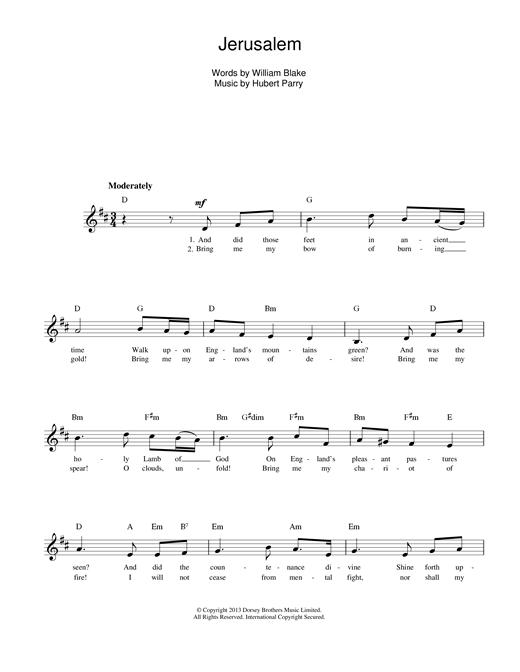 Jerusalem sheet music
